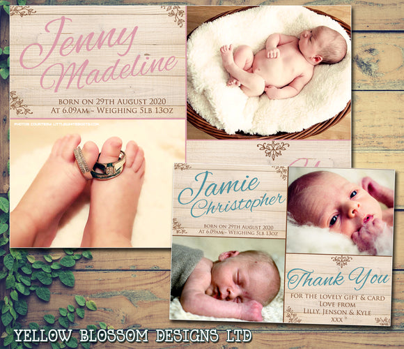 Wooden Background Natural Garden Barn Cute New Born Baby Birth Announcement Photo Cards Personalised Bespoke