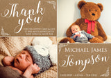 Kraft Background Rustic Barn Thank You Message Note New Born Baby Birth Announcement Photo Cards Personalised Bespoke ~ QUANTITY DISCOUNT AVAILABLE