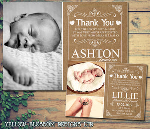 Rustic Brown Card Effect New Born Baby Birth Announcement Photo Cards Personalised Bespoke ~ QUANTITY DISCOUNT AVAILABLE