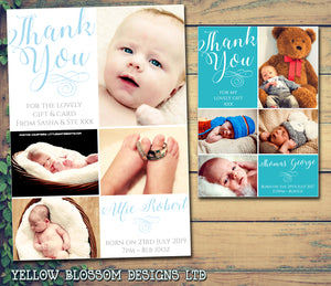 Elegant Classic Beautiful New Born Baby Birth Announcement Twin Photo Cards Personalised Bespoke ~ QUANTITY DISCOUNT AVAILABLE