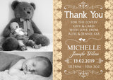 Lace Rustic Barn Garden Natural New Born Baby Birth Announcement Photo Cards Personalised Bespoke ~ QUANTITY DISCOUNT AVAILABLE