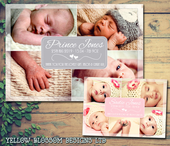Multi Photo Card Thank You New Born Baby Birth Twin Announcement Photo Cards Personalised Bespoke ~ QUANTITY DISCOUNT AVAILABLE
