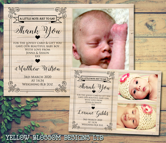Wooden Effect Elegant Perfect Cute Thank You Message Note New Born Baby Birth Announcement Photo Cards Personalised Bespoke