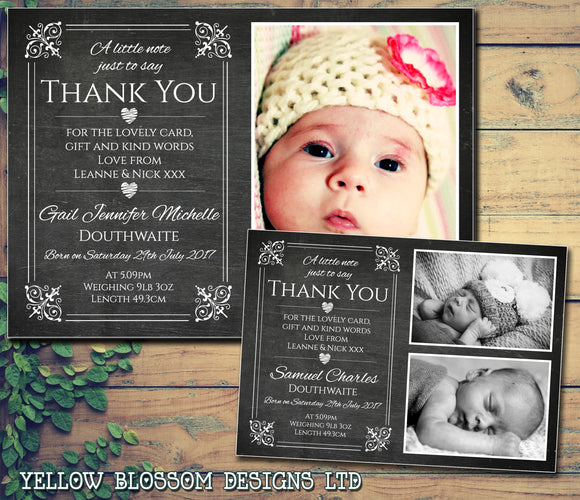 Heart Blackboard Cute Chalkboard New Born Baby Birth Announcement Photo Cards Personalised Bespoke ~ QUANTITY DISCOUNT AVAILABLE