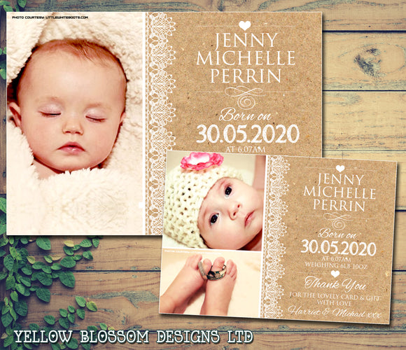Natural Rustic Vintage White Lace New Born Baby Birth Announcement Photo Cards Personalised Bespoke ~ QUANTITY DISCOUNT AVAILABLE