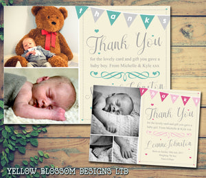 Thanks Bunting Elegant New Born Baby Birth Announcement Photo Cards Personalised Bespoke ~ QUANTITY DISCOUNT AVAILABLE