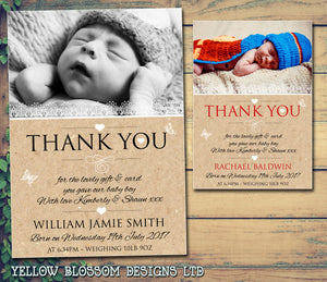 Nautral New Born Baby Birth Announcement Photo Cards Personalised Bespoke ~ QUANTITY DISCOUNT AVAILABLE