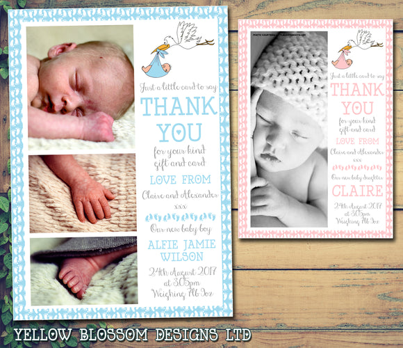 Baby Girl Boy Stork Adorable Cute New Born Birth Announcement Photo Cards Twin Personalised Bespoke ~ QUANTITY DISCOUNT AVAILABLE