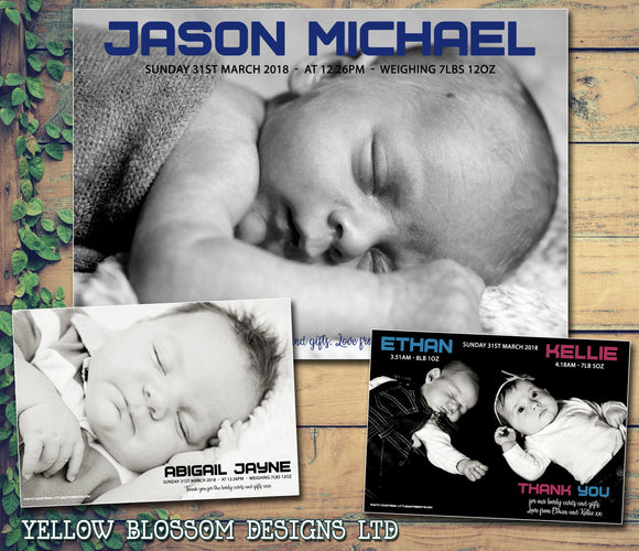 Personalised Baby Announcement Full Photo Thank You Cards ~ Twins Boy Girl