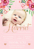 Premium Personalised New Baby Photo Thank You Cards Girl Birth Announcement