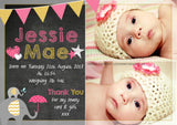 Chalboard Cute Thank You Message Note New Born Baby Birth Announcement Photo Cards Personalised Bespoke