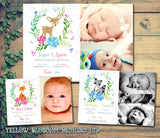 Woodland Creatures Cute Thank You Message Note New Born Baby Birth Announcement Photo Cards Personalised Bespoke