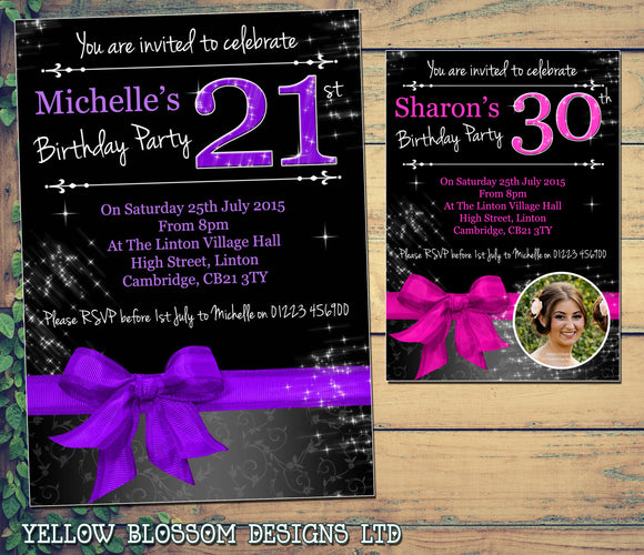 Adult Birthday Invitations Female For Her - 21st 30th 40th