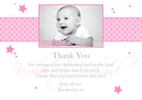 Classic Polka Dots Joint Boy Girl Twins Photo Personalised Thank You Cards Christening