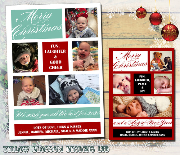 Montage Collage Photo Personalised Folded Flat Christmas Photo Cards Family Child Kids ~ QUANTITY DISCOUNT AVAILABLE