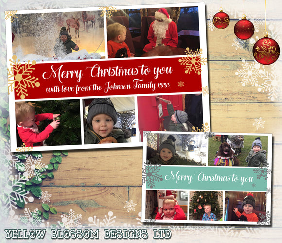 Beautiful Merry Christmas Personalised Folded Flat Christmas Photo Cards Family Child Kids ~ QUANTITY DISCOUNT AVAILABLE
