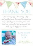 Vintage Carnival Joint Boy Girl Twins Photo Personalised Thank You Cards Christening Baptism Naming Day Party Celebrations ~ QUANTITY DISCOUNT AVAILABLE