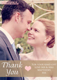 Portrait Full Photo Heart Photo Personalised Wedding Thank You Cards ~ QUANTITY DISCOUNT AVAILABLE