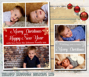 Elegant Personalised Family Christmas Photo Greeting Cards Quality ~ QUANTITY DISCOUNT AVAILABLE