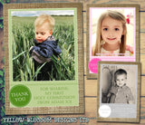 Hessian Vintage Boy Girl Twins Photo Personalised Thank You Cards Christening Baptism Naming Day Party Celebrations ~ QUANTITY DISCOUNT AVAILABLE