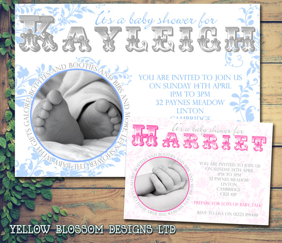 Baby Shower Invitations Boy Girl Unisex Twins Joint Party - Vintage Swirls Floral ~ QUANTITY DISCOUNT AVAILABLE - YellowBlossomDesignsLtd
