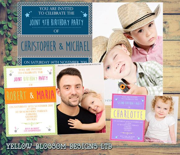 Boys Girls Twins Adult Kid Joint Party Invitations - Children's Kids Child Birthday Invites Twin Joint Party Unisex Printed. 18th 21st 30th 40th 50th 60th ~ QUANTITY DISCOUNT AVAILABLE - YellowBlossomDesignsLtd
