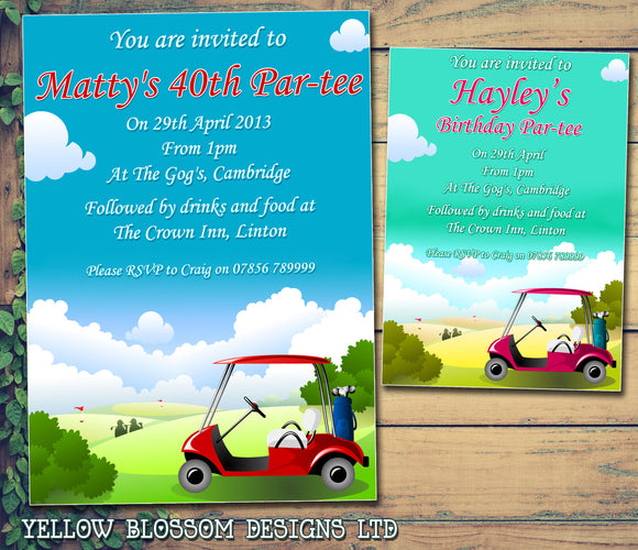 Adult Birthday Invitations Female Male Unisex Joint Party Her Him For Her - Golf Par-tee ~ QUANTITY DISCOUNT AVAILABLE - YellowBlossomDesignsLtd