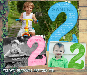 Turning 2 Two 2nd Photo Party Invitations - Boy Girl Unisex Joint Birthday Invites Boy Girl Joint Party Twins Unisex Printed ~ QUANTITY DISCOUNT AVAILABLE