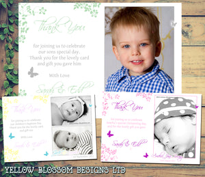 Cute Elegant Joint Boy Girl Twins Photo Personalised Thank You Cards Christening Baptism Naming Day Party Celebrations ~ QUANTITY DISCOUNT AVAILABLE