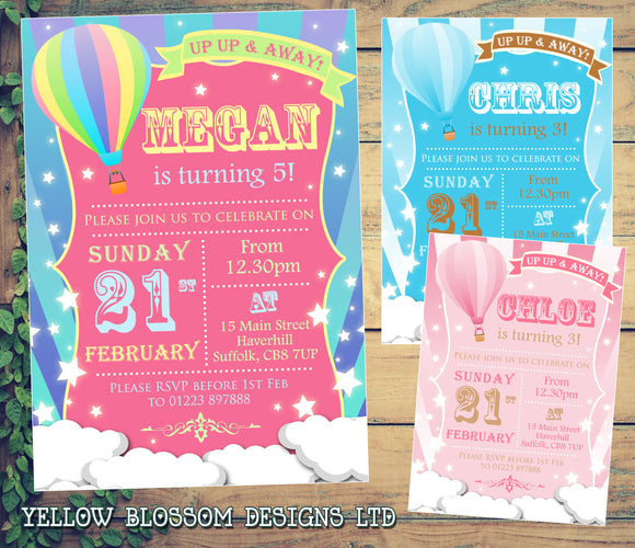 Up Up And Away Hot Air Balloon Party Invitations - Boy Girl Unisex Joint Birthday Invites Boy Girl Joint Party Twins Unisex Printed ~ QUANTITY DISCOUNT AVAILABLE