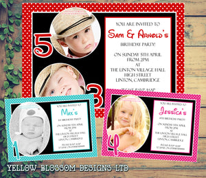 Funky Photo Invitations - Boy Girl Unisex Joint Birthday Invites Boy Girl Joint Party Twins Unisex Printed ~ QUANTITY DISCOUNT AVAILABLE