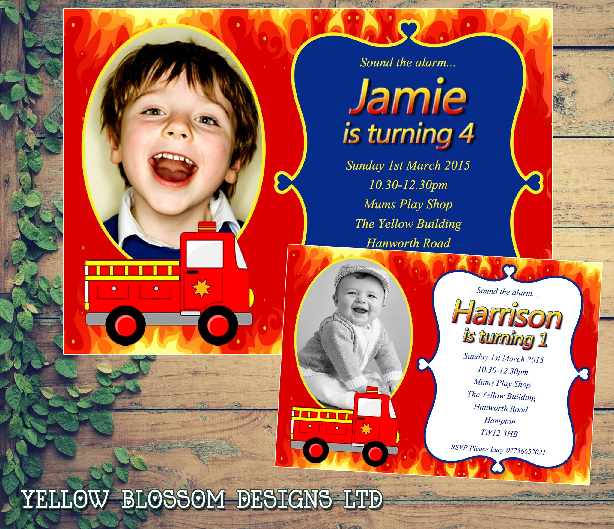 Fireman Sam Fire Engine Party Invitations - Birthday Invites Boy ...