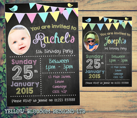 Chalkboard Bunting Photo Joint Boy Girl Party Invitations - Children's Kids Child