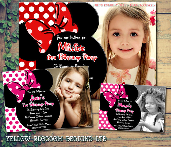 Minnie Mouse Photo Invitation - Children's Kids Child Birthday Invitations Boy Girl Joint Party Twins Unisex Printed ~ QUANTITY DISCOUNT AVAILABLE