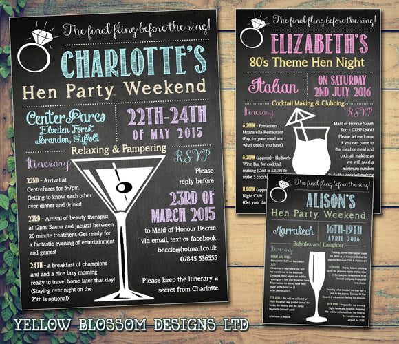Chalk Board Final Fling Before The Ring Cocktail Glass Hen Weekend Itinerary Cards Hen Party Invites Bride To Be ~ QUANTITY DISCOUNT AVAILABLE - YellowBlossomDesignsLtd