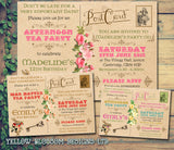 Vintage Rustic Postcard Afternoon Tea Party Invitations - Boy Girl Joint Party Invites Twins Unisex Printed Children's Kids Child ~ QUANTITY DISCOUNT AVAILABLE