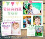 Shabby Chic Rainbow Colourful Bunting Personalised Birthday Thank You Cards Printed Kids Child Boys Girls Adult ~ QUANTITY DISCOUNT AVAILABLE