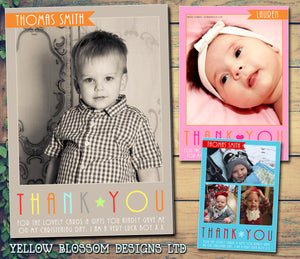 Elegant Photo Notes Personalised Birthday Thank You Cards Printed Kids Child Boys Girls Adult ~ QUANTITY DISCOUNT AVAILABLE
