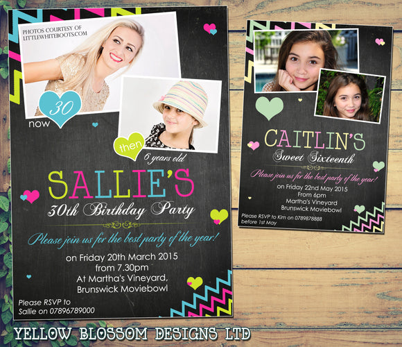 Adult Birthday Invitations Female Male Unisex Joint Party 18th 21st 30th 40th 50th 60th - Zig Zags Blackboard Photo Print ~ QUANTITY DISCOUNT AVAILABLE