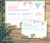 Peter Rabbit Bunting Shabby Chic Invitations - Boy Girl Joint Party Invites Twins Unisex Printed Children's Kids Child ~ QUANTITY DISCOUNT AVAILABLE