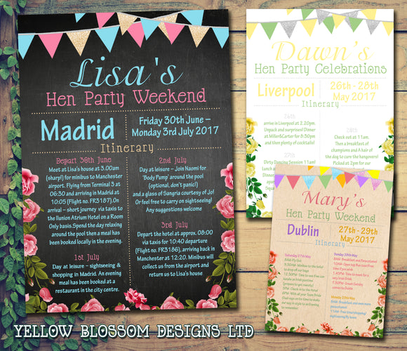 Shabby Chic Bunting Glitter Hen Weekend Itinerary Cards Hen Party Invites Bride To Be ~ QUANTITY DISCOUNT AVAILABLE