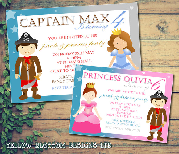 Pirate & Princess Party Invitations - Children's Kids Child Birthday Invites Boy Girl Joint Party Twins Unisex Printed ~ QUANTITY DISCOUNT AVAILABLE