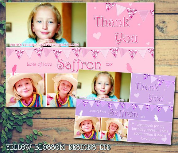 Girlie Pink Purple Bunting Garden Party Photos Personalised Birthday Thank You Cards Printed Kids Child Boys Girls Adult ~ QUANTITY DISCOUNT AVAILABLE