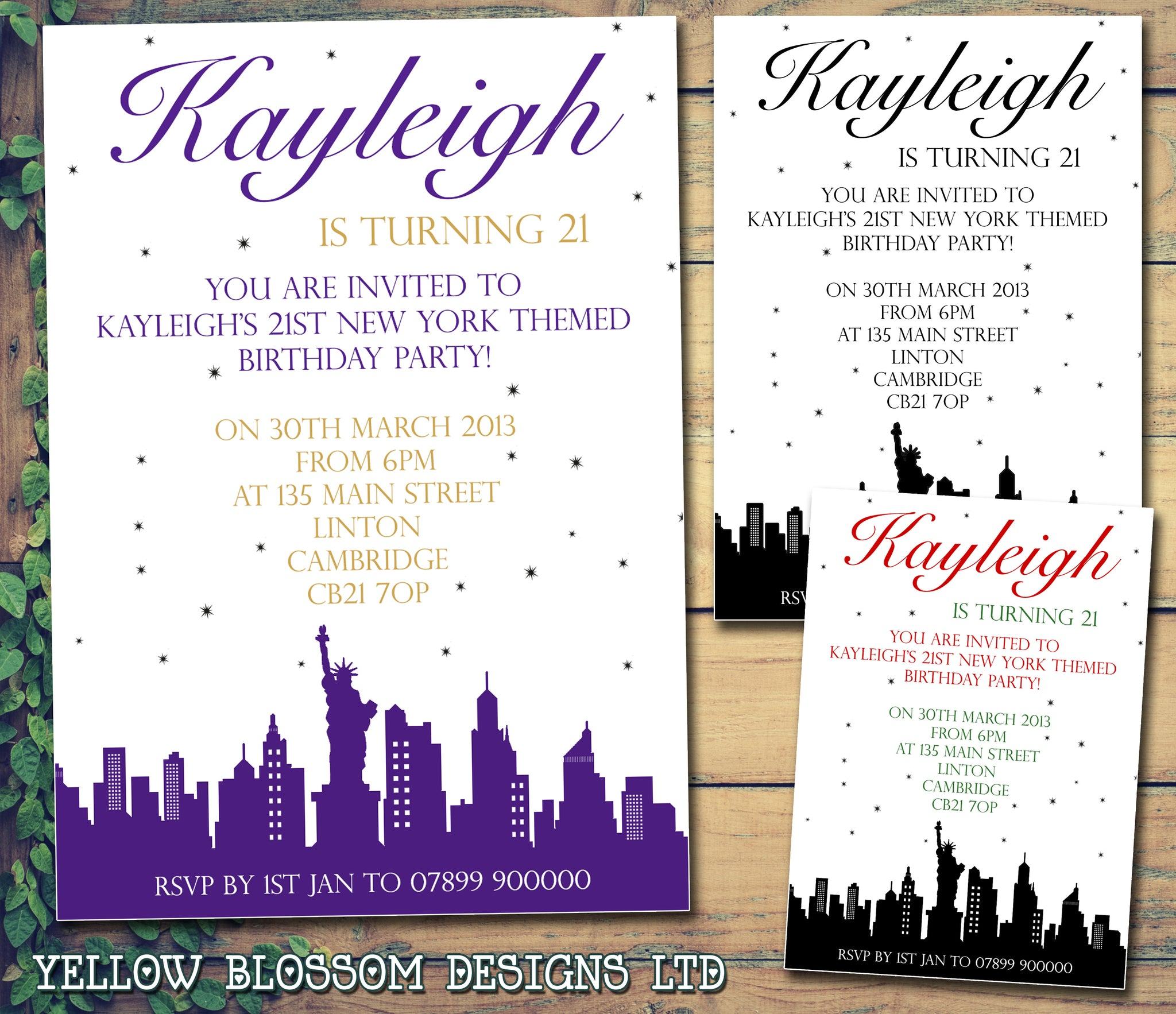 Personalised Birthday Invitations Female Male Unisex Joint 18th 21st 30th 40th 50th 60th New York Skyline