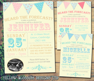 Baby Shower Invitations Boy Girl Unisex Twins Joint Party - Heard The Forecast Carnival Funky Bunting ~ QUANTITY DISCOUNT AVAILABLE - YellowBlossomDesignsLtd