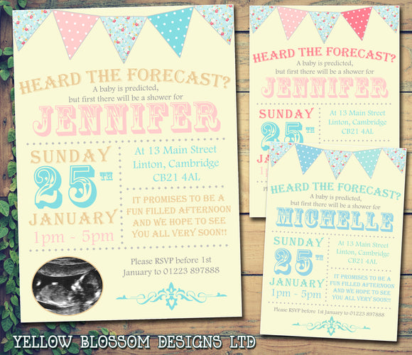 Baby Shower Invitations Boy Girl Unisex Twins Joint Party - Heard The Forecast Carnival Funky Bunting ~ QUANTITY DISCOUNT AVAILABLE