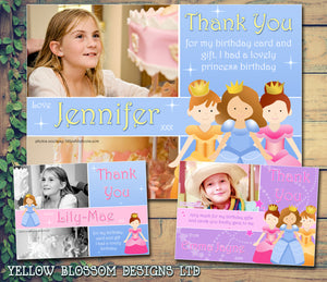 Princess Pink Blue Sparkles Personalised Birthday Thank You Cards Printed Kids Child Boys Girls Adult ~ QUANTITY DISCOUNT AVAILABLE