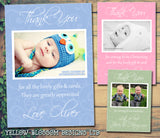 Green Pink Blue Photo Boys Personalised Birthday Thank You Cards Printed Kids Child Boys Girls Adult ~ QUANTITY DISCOUNT AVAILABLE