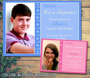 Birthday Invitations Female Male Unisex Joint Party Personalised 18th 21st 30th 40th 50th 60th Shhh It's A Surprise ~ QUANTITY DISCOUNT AVAILABLE - YellowBlossomDesignsLtd