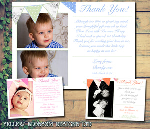 Shabby Chic Bunting Joint Boy Girl Twins Photo Personalised Thank You Cards Christening Baptism Naming Day Party Celebrations ~ QUANTITY DISCOUNT AVAILABLE